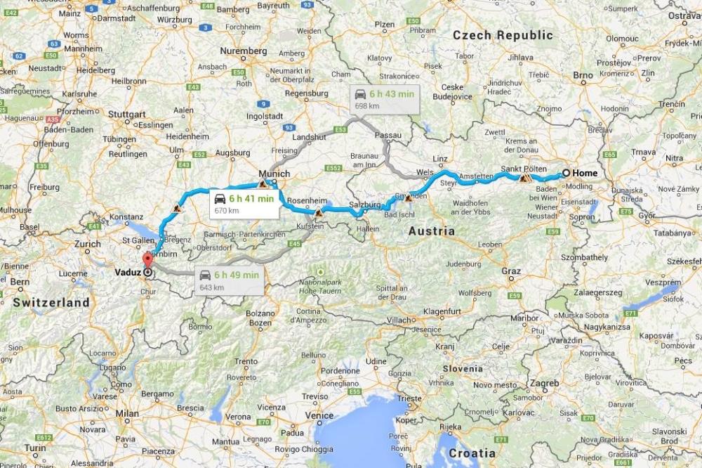 Rute perjalanan Vienna-Vaduz.